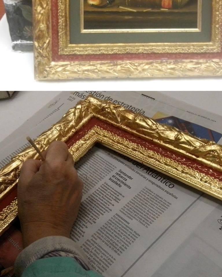 Estofado al temple sobre pan de oro-Trabajos de alumnos