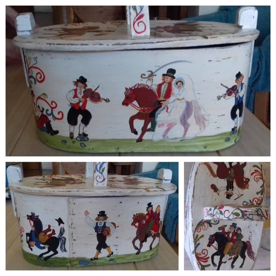 Trabajos La Restauradora.Caja decorada con escenas de boda
