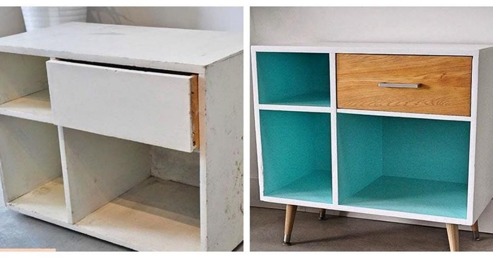 Pintura decorativa mueble patas nórdicas-La Restauradora