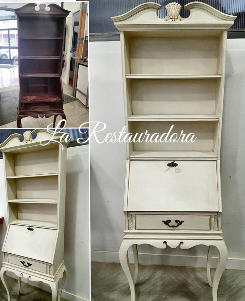 Renovación de bureau con pintura en blanco envejecido La Restauradora